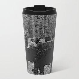 Black & White Cattle Grazing Pencil Drawing Photo Travel Mug