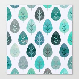 Watercolor Forest Pattern #6 Canvas Print