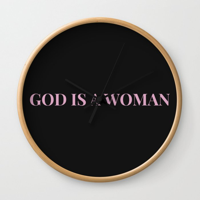 God is a woman by Ariana – black pink Wall Clock