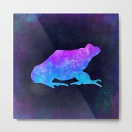 FROG IN SPACE // Animal Graphic Art // Watercolor Canvas Painting // Modern Minimal Cute Metal Print
