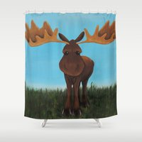moose Shower Curtains featuring Moose by Laura Miller