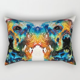 Colorful Dog Art - Heart And Soul - By Sharon Cummings Rectangular Pillow