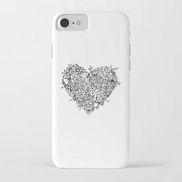 Floral Heart Doodle Illustration Art iPhone Case
