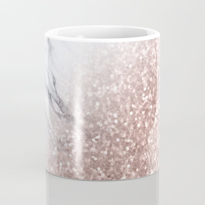 Blush Pink Sparkles on White and Gray Marble V Coffee Mug