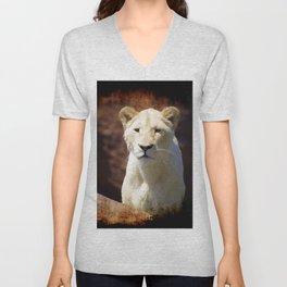 African White Lion Unisex V-Neck