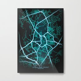 Stoke on Trent, England, Blue, White, Neon, Glow, City, Map Metal Print