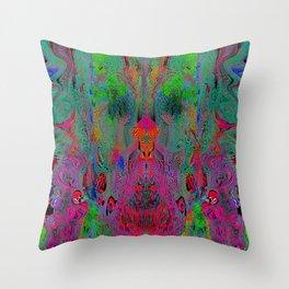 Garish Hidden Clown (Psychedelic, Op Art, Abstract) Throw Pillow