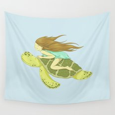The Girl and the Turtle Wall Tapestry