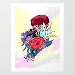 Chrysanth Wisteria & Lily - & Rose  Art Print