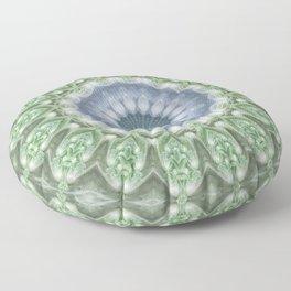 Slate Blue and Green Mandala Floor Pillow