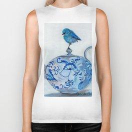 Blue Bird on Teapot Biker Tank