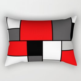 Red Black and Grey squares Rectangular Pillow