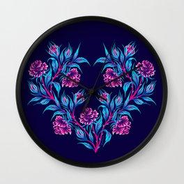 Roses - Dark Blue Pink Wall Clock