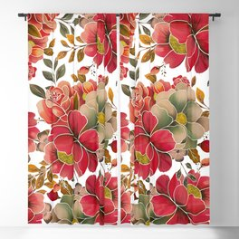 Elegant coral red green watercolor summer floral Blackout Curtain