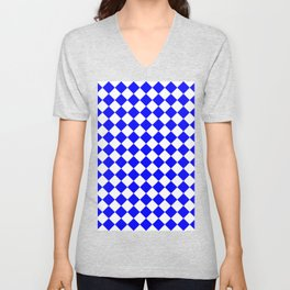 Diamonds - White and Blue Unisex V-Neck