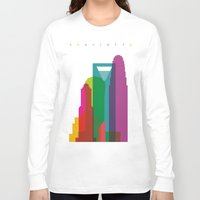 fargo Long Sleeve T-shirts featuring Shapes of Charlotte accurate to scale by Glen Gould