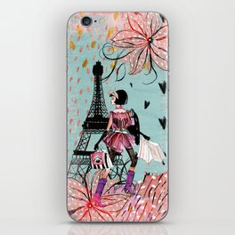 Fashion girl in Paris - Shopping at the EiffelTower iPhone Skin