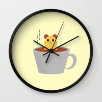 hamster Wall Clocks featuring Hamster Bath by Cecily Cloud