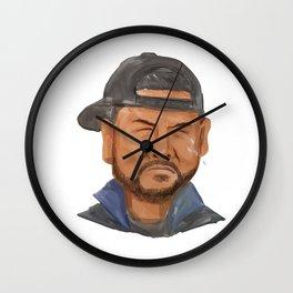 African-American Man Beard Hat Crying Watercolor Wall Clock