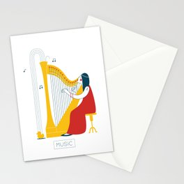 Woman harpist Stationery Cards