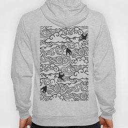 Doodle clouds and swallows. Cloudscape pattern with birds. Hoody