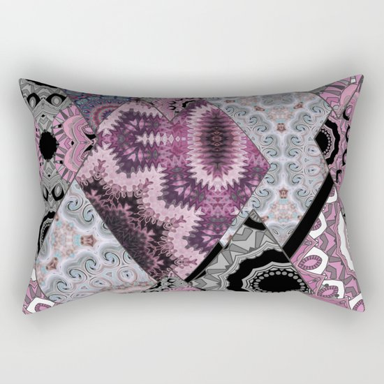 The national pattern in the patchwork . Purple soft grey and blue colours. Rectangular Pillow