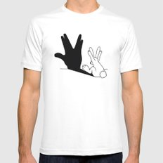 Rabbit Trek Hand Shadow White Mens Fitted Tee MEDIUM