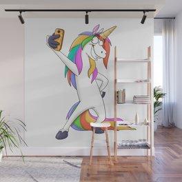 Cool unicorn taking a cute selfie Wall Mural