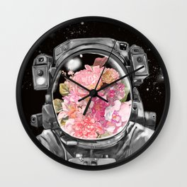 Astronaut Flowers Selfie Wall Clock