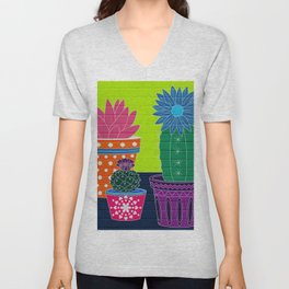 Fun With Coloring Cactus on Brick Unisex V-Neck