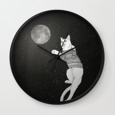 Cat trying to catch the Moon Wall Clock