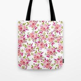 Elegant pink coral green watercolor roses pattern Tote Bag