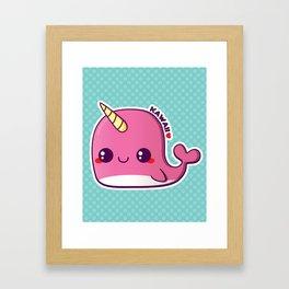 Kawaii Pink Narwhal Framed Art Print