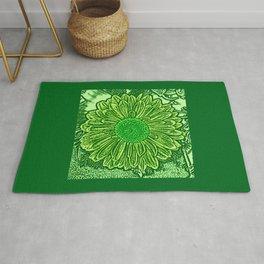 Gerbera Daisy Block Print, Emerald and Lime Green Rug