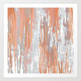 Abstract ink. Gray. metallic. orange. abstract. .minimalist. line. minimalism. lines. Art Print