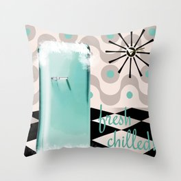 Fifties Kitchen Fridge Throw Pillow