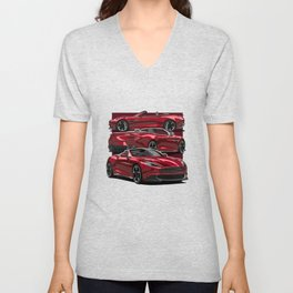 Cool Red sports car  Unisex V-Neck