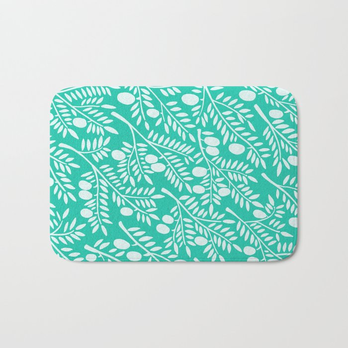 Turquoise Olive Branches Bath Mat