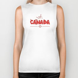 Oh Canada Day (Handlettered) Biker Tank