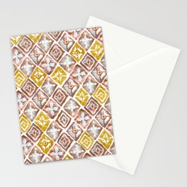 Red and Gold Tribal Tiles Stationery Cards