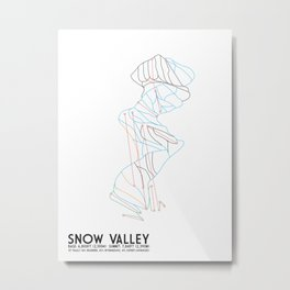 Snow Valley, CA - Minimalist Trail Maps Metal Print