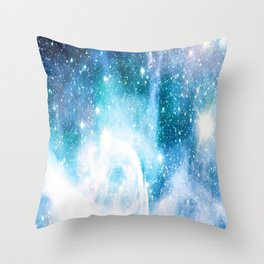 Blue Turquoise Nebula Throw Pillow