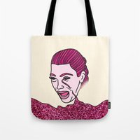 kardashian Tote Bags featuring Kim Krying by MODERN UNDERGROUND