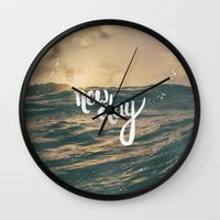 pocketfuel Wall Clocks featuring NEW DAY by Pocket Fuel