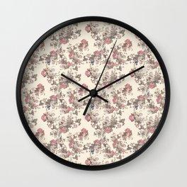 Cream Vintage Flowers Wall Clock