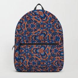 Beautiful Blue and Orange Beadwork Inspired Print Backpack