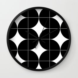 Modular Black and White Repeated Pattern Design Wall Clock