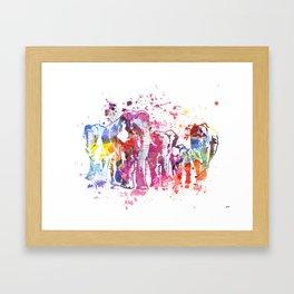 Elephants Splash Framed Art Print