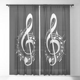 White Treble Clef Sheer Curtain