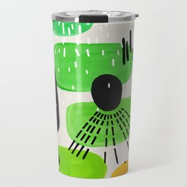 Mid Century Modern Abstract Vintage Colorful Shapes Patterns Lime Green Yellow Pebbles Travel Mug